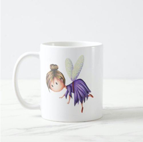 Little Fairy Flying in Purple Dress Unique Coffee Mug