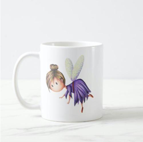 Little Fairy Flying in Purple Dress Unique Coffee Mug