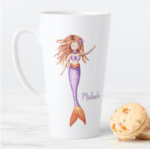 Red hair mermaid with purple tail personalized Latte Mug