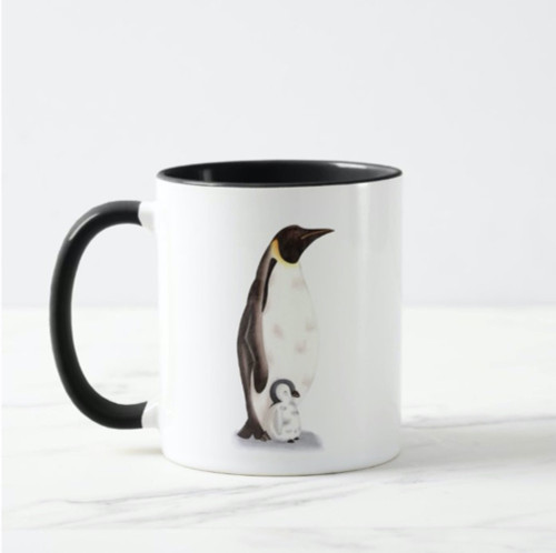Best Dad Ever Emperor Penguin and Baby Illustrated Mug