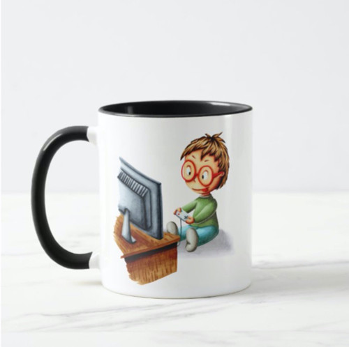 Boy with glasses playing video games gamer Mug