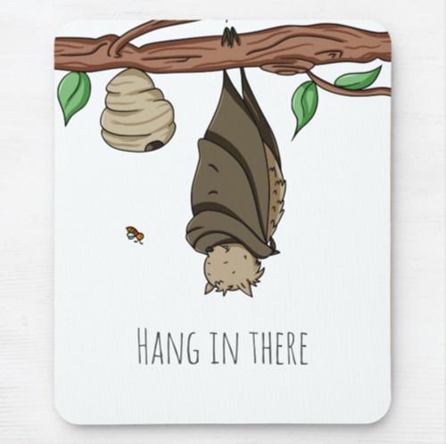 Hang in There Bat Sleeping Cartoon Mouse Pad