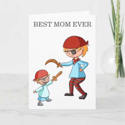Best Mom Ever Playing Pirates Personalized Card