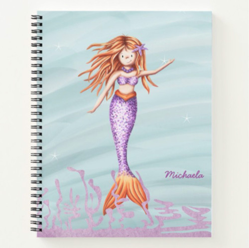 Whimsical Mermaid with Purple Tail Personalized Notebook