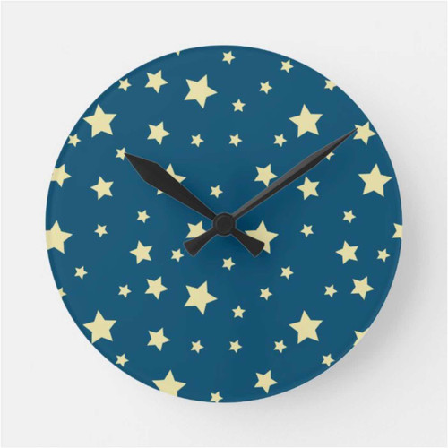 Yellow Stars Patterned Midnight Blue Round Clock