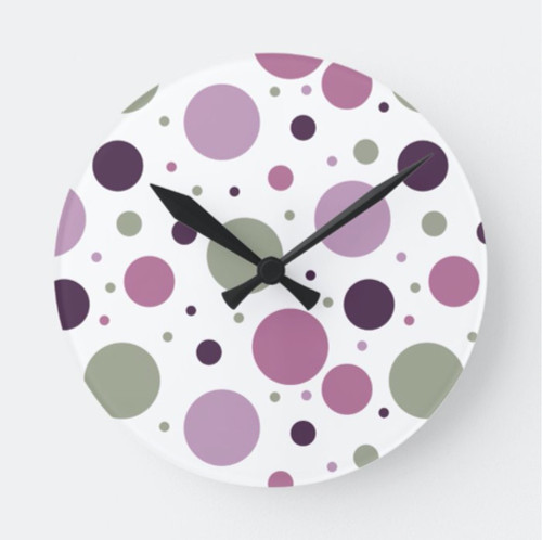 Cute Purple and Green Polka Dots Retro Round Clock