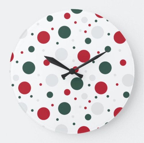 Festive Red and Green Polka Dot Christmas Round Clock
