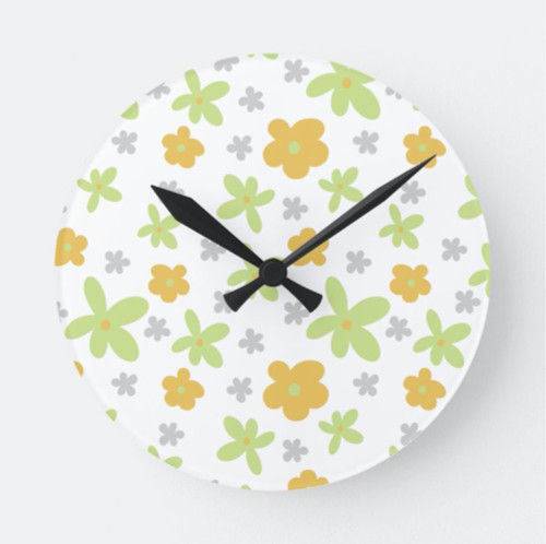 Cute Floral Orange and Green Nursery Round Clock