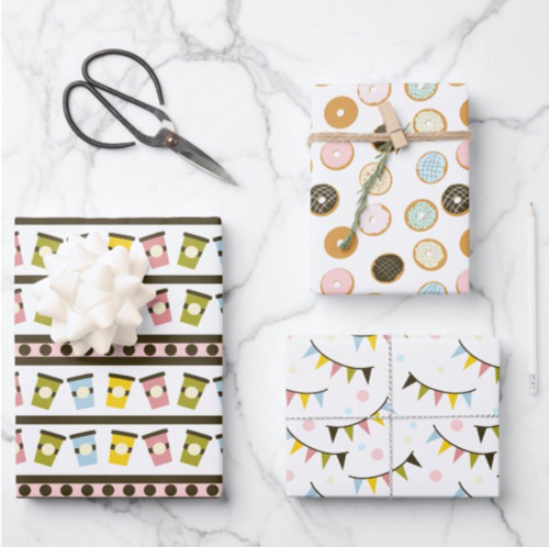 Donuts and Garlands Pastel Bakery Birthday Wrapping Paper Sheets