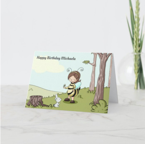 Illustrated Bee Themed Personalized Happy Birthday Card