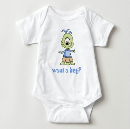 Want a Hug Cute Alien Monster Baby Bodysuit