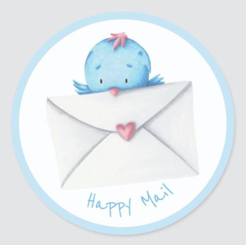 Blue Bird with Letter and Heart Happy Mail Classic Round Sticker
