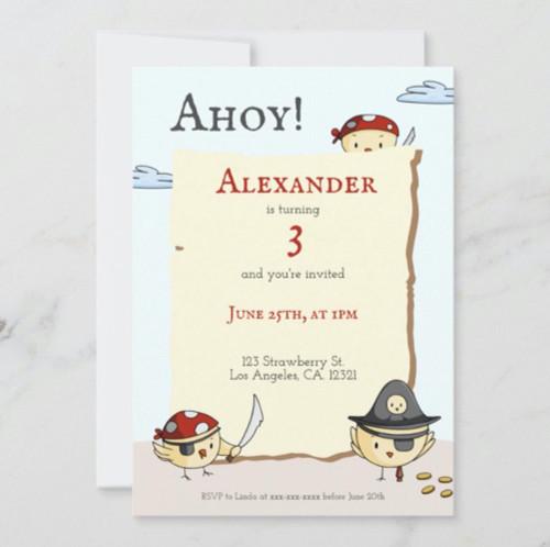 Ahoy Bird Pirate Theme Birthday Party Invitation