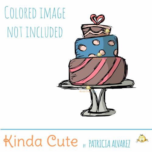 Wedding cake sketch digital stamp