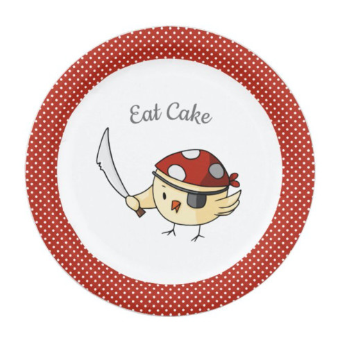 Bird Captain Pirate Themed Eat Cake Personalized Paper Plate
