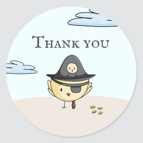 Thank You Pirata Themed Party Personalized Classic Round Sticker