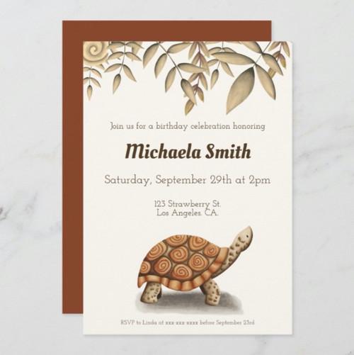 Tortoise Sepia Brown Personalized Birthday Invitation