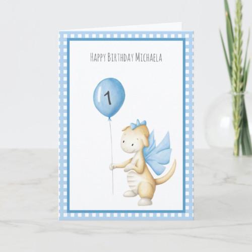 Cute Dragon with Balloon First Birthday Card