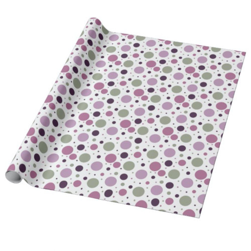 Cute Purple and Green Polka Dots Retro Wrapping Paper