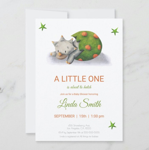 It's About to Hatch Cute Dinosaur Illustrated Invitation