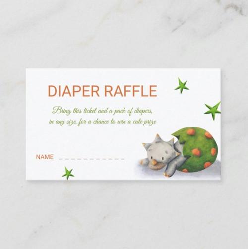 Triceratops Dinosaur Personalized Diaper Raffle Enclosure Card