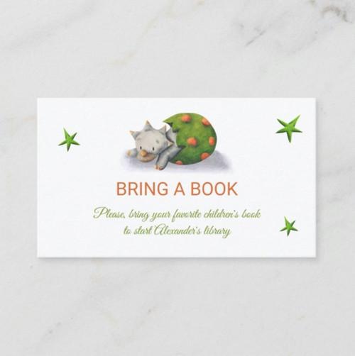 Cute Triceratops Dinosaur Illustrated Bring a Book Enclosure Card