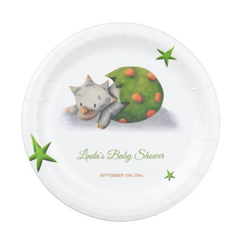 Minimalist Triceratops Dinosaur Baby Shower Paper Plate