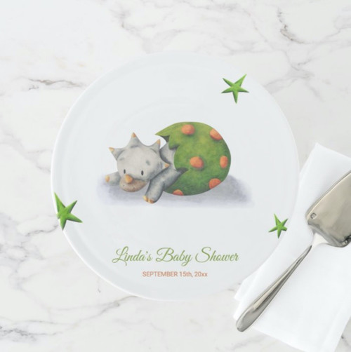 Adorable Triceratops Dinosaur Hatching Baby Shower Cake Stand