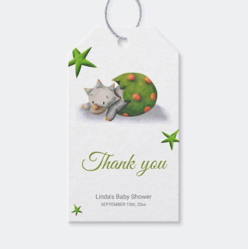 Triceratops Dinosaur Hatching Neutral Baby Shower Gift Tags