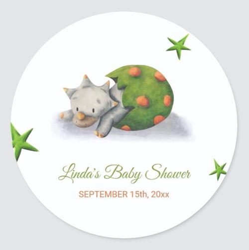 Adorable Triceratops Dinosaur Hatching Baby Shower Classic Round Sticker
