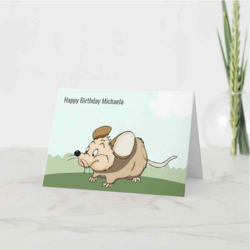 Funny Mouse Personalized Kid Birthday Card
