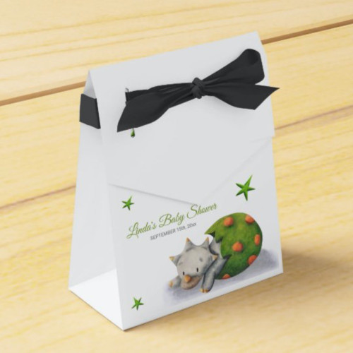 Personalized Neutral Triceratops Dinosaur Party Favor Box
