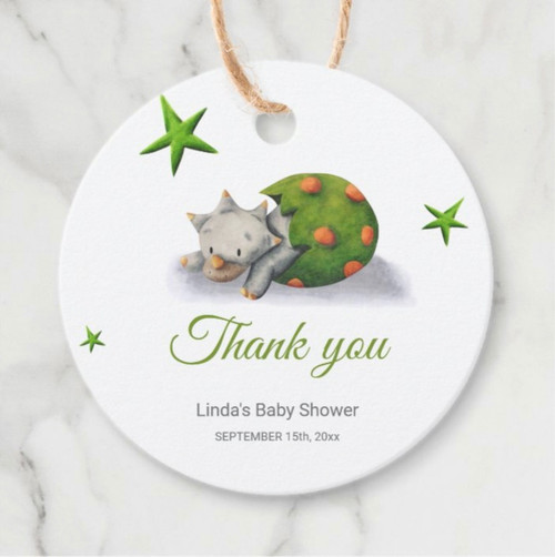 Personalized Neutral Triceratops Dinosaur Party Favor Tags