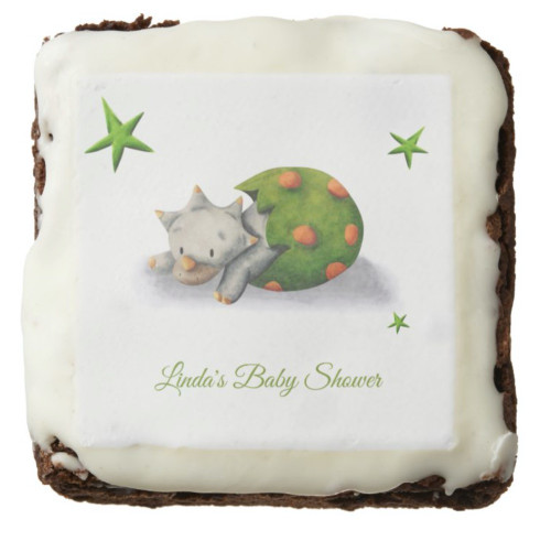 Personalized Neutral Triceratops Dinosaur Party Brownie
