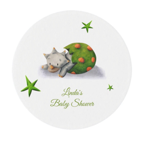 Personalized Neutral Triceratops Dinosaur Party Edible Frosting Rounds