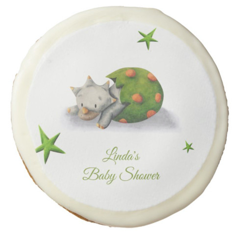 Cute Triceratops Dinosaur Illustrated Baby Shower Sugar Cookie