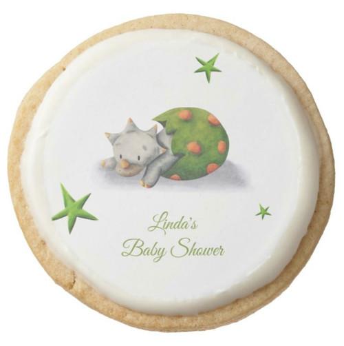 Cute Neutral Triceratops Dinosaur Baby Shower Round Shortbread Cookie