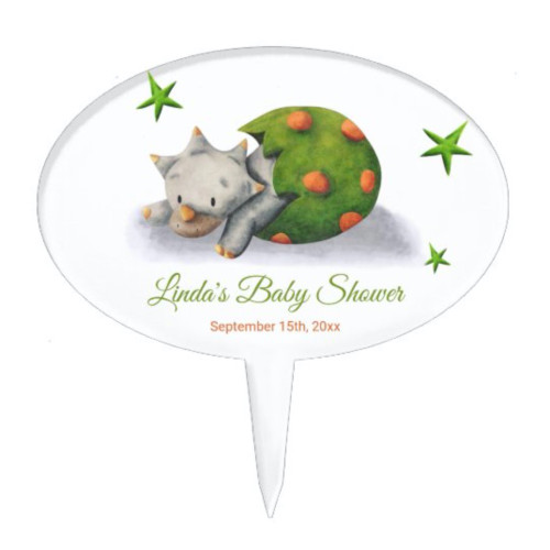 Cute Triceratops Dinosaur Hatching Baby Shower Cake Topper
