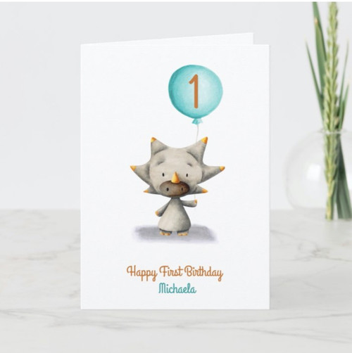 Cute Triceratops with Balloon First Birthday Card