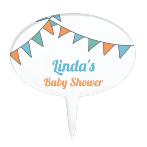 Minimalist orange, green, blue banner Baby Shower Cake Topper