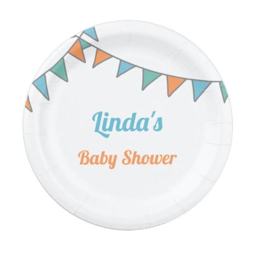 Minimalist blue and orange baby shower Paper Plate
