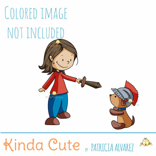 Girl with Sword and Teddy Bear Digital Stamp