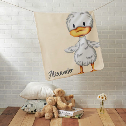 Personalized baby blanket with a little duckling