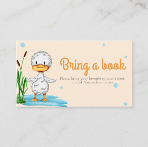 Neutral little duckling bring a book baby shower Enclosure Card
