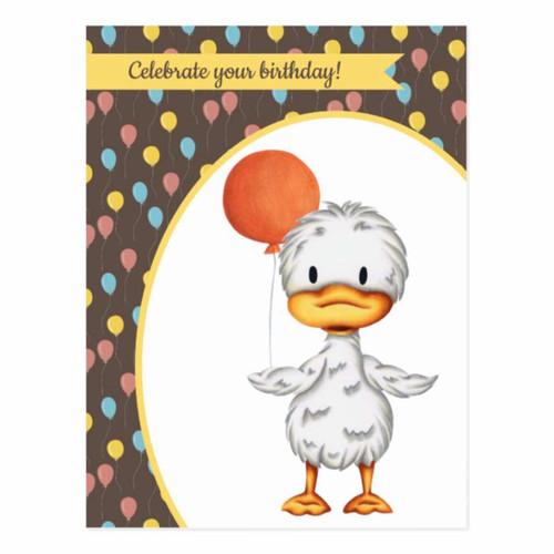 Cute Duck drawing with Orange Balloon Birthday Postcard