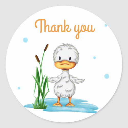 Thank you little duckling in the water baby shower Classic Round Sticker