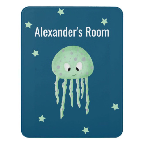 Personalized Green Jellyfish Drawing Room Door Sign