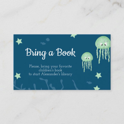 Cute Jellyfish Under the Sea Bring a Book Neutral Enclosure Card