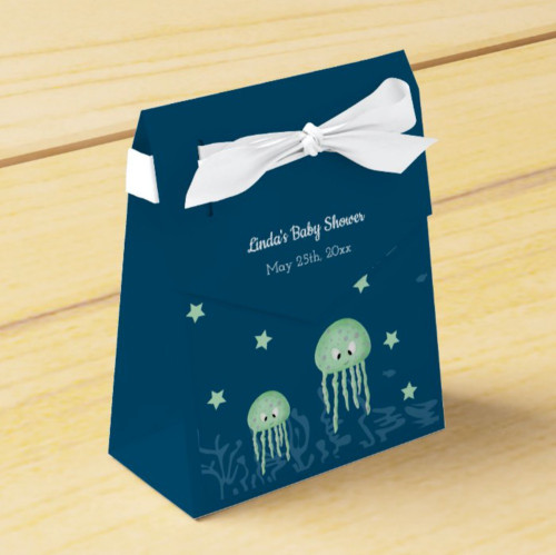 Cute Blue and Turquoise Under the Sea Jellyfish Favor Box