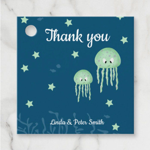 Personalized Green Jellyfish Neutral Thank You Favor Tags